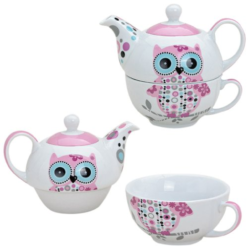 Tee-Set mit Eulen Motiv in Rosa für eine Person
