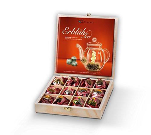 Creano Teeblumen Geschenkset Teeholzkiste, 12 ErblühTee in 6 Sorten
