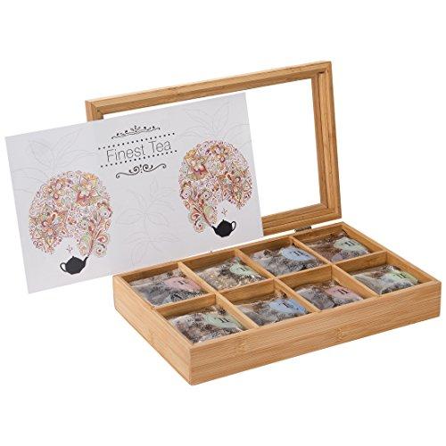 Levivo Bambus-Teebeutelbox mit 32 Teebeuteln, 8 versch. Sorten